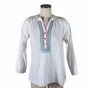 Lilly Pulitzer White Embroidered Tunic Pink Blue S